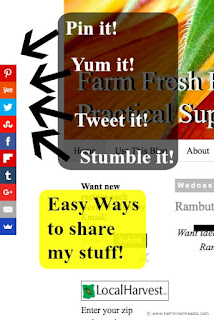 Check out my new share buttons on the blog. Now it's easier to Pin, Yum, Slap, Tickle, Stumble and Twit my recipes. [I don't even know what half of that means.]