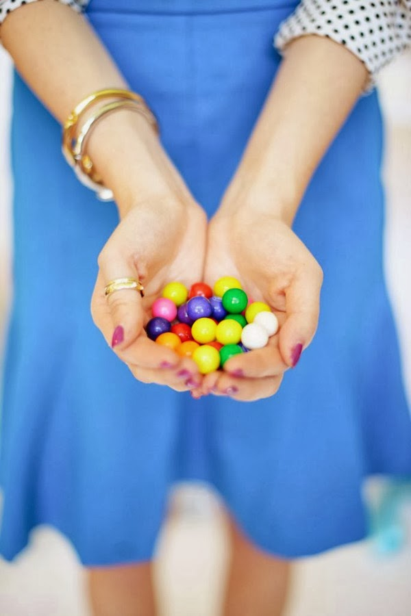 polka dot top and bright blue skirt