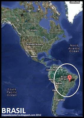 Ubicación de Brasil en América, Vista Satelital 2012