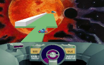 Skyroads綠色免安裝Dosbox整合版下載,Dos時代就有的太空船跑酷遊戲!