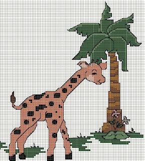 Gráfico para bordado de girafa