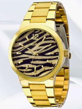 relógio feminino com mostrador de animal print Euro