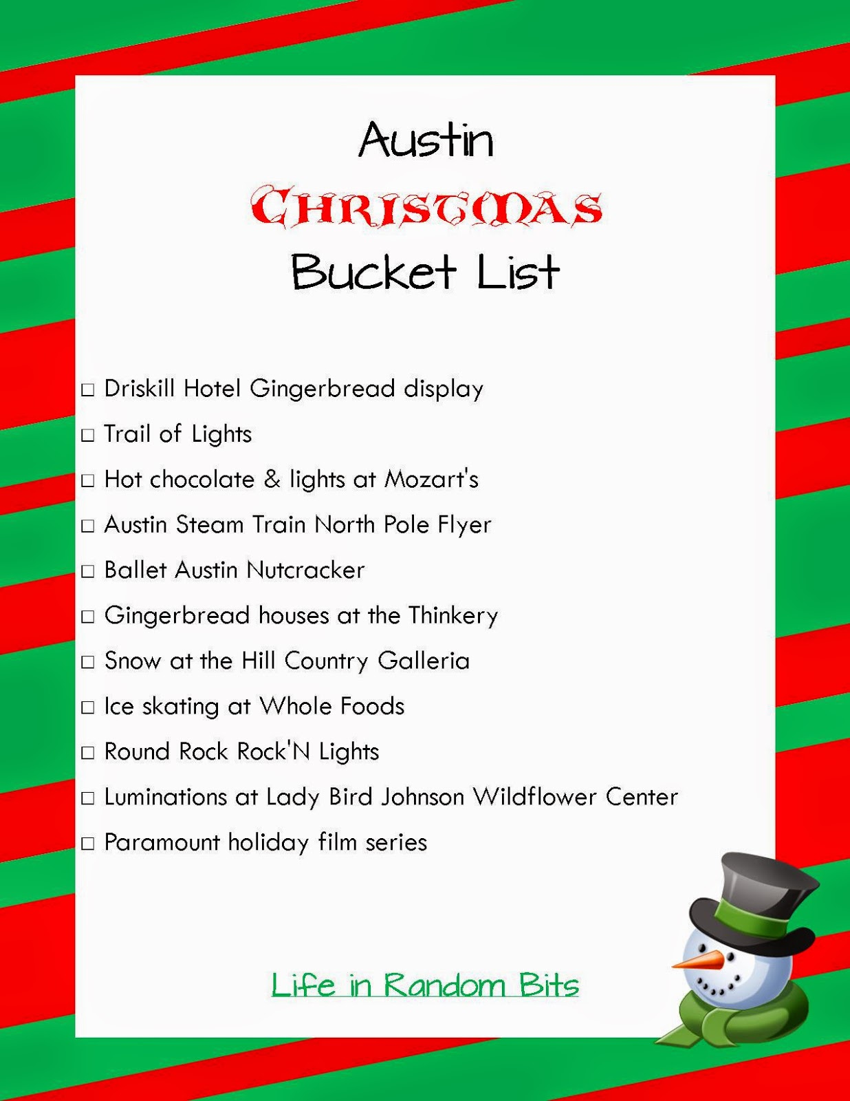 Austin Christmas event bucket list ~ Life in Random Bits #austin #christmas