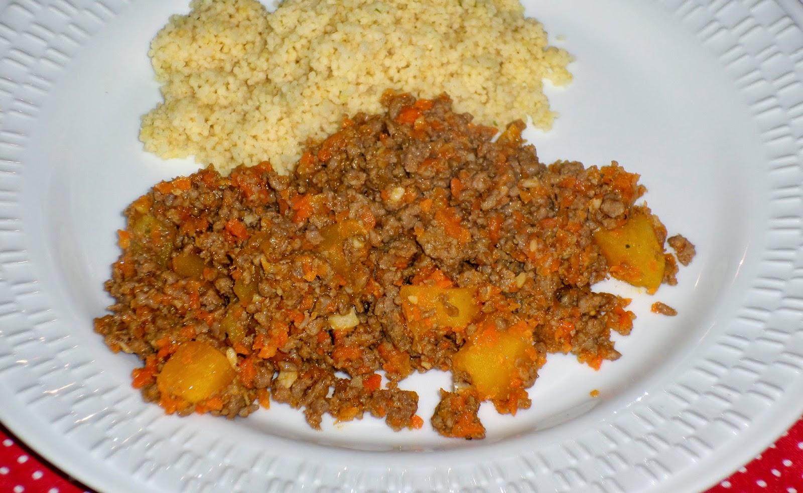 receita carne moída  com legumes