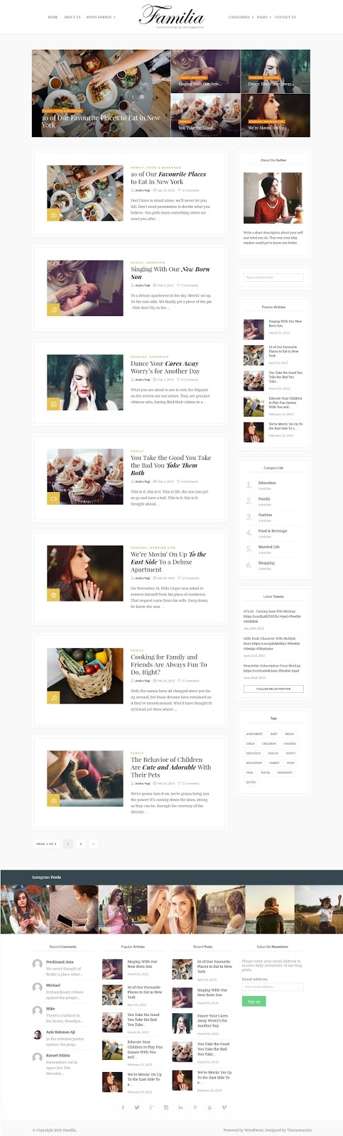 Familia WordPress Blog Theme