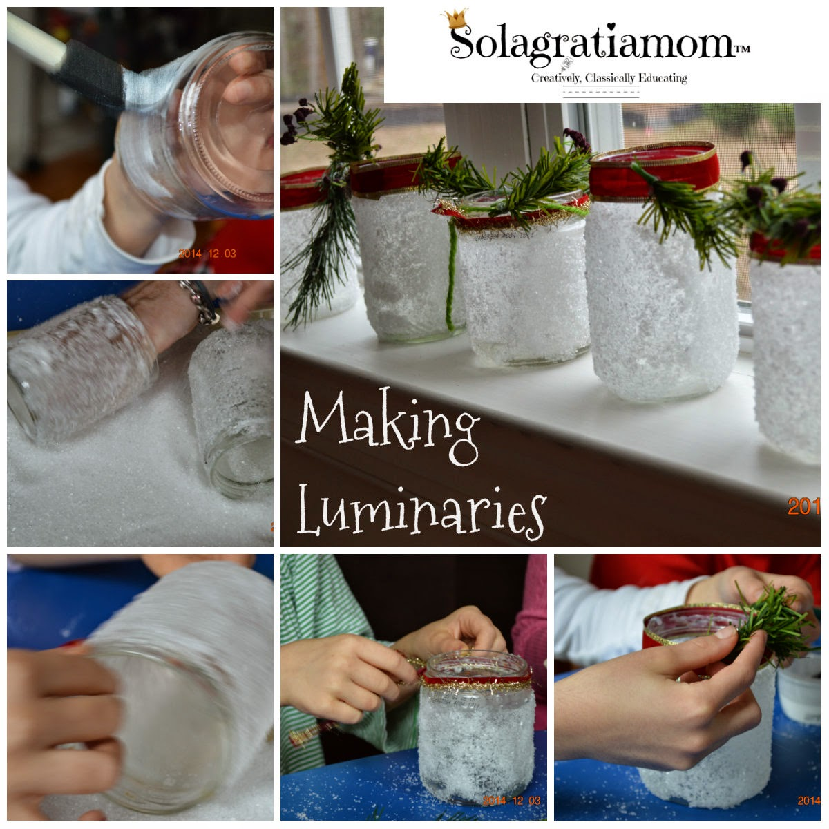 Solagratiamom christmas party wonderful wednesday 2014 for Homemade luminaries