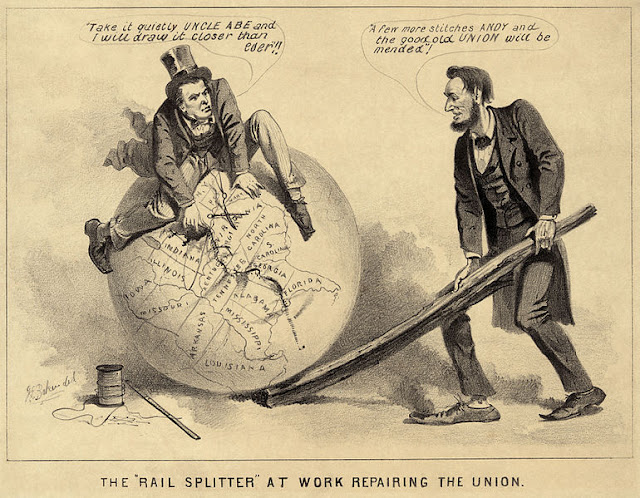 CARTOON ON MENDING THE UNION AFTER CIVIL WAR