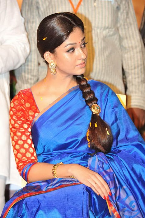 Nayantharain Blue Saree - NayantharaBlue Saree Pic - Beautiful