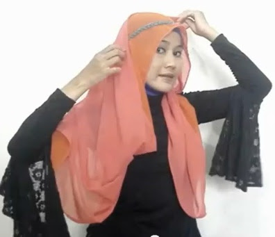 Tutorial hijab Untuk Wanita Hanya Dengan Seutas Tali Part 6