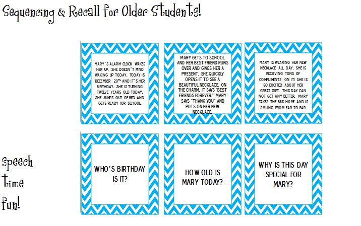 Sequencing & Recall for Older Students!
