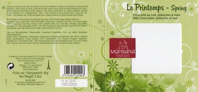 tablette de chocolat lait gourmand monbana lait le printemps