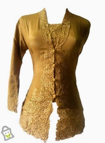 Model Kebaya 2015 Desain Modern Terbaru Warna Gold Motif Emas