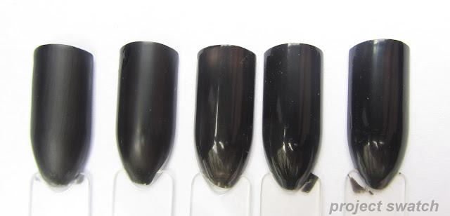 Black nail polish comparison swatches - LA Girl Matte Black, American Apparel Hassid, Nails, Inc. Black Taxi, Illamasqua Boosh, Wet n Wild Black Creme