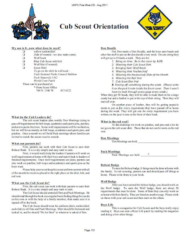 Cub Scout Parent Welcome Letter