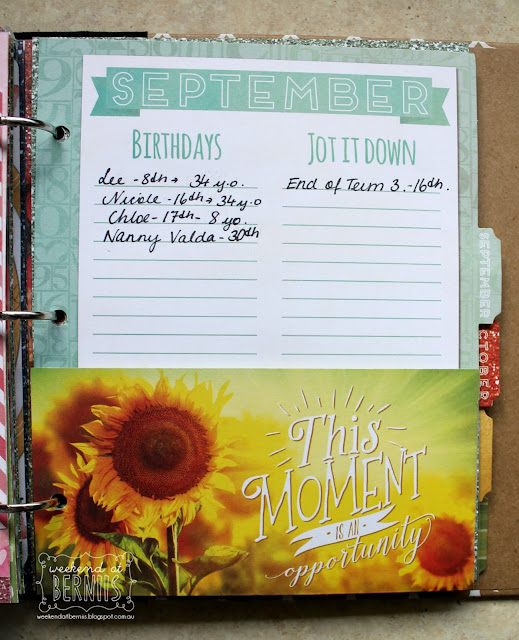 Calendar Girl Misc Me planner by Bernii Miller for BoBunny.