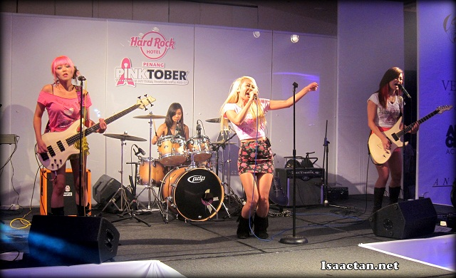 Hard rockers, the edgy pop-rock girl band Nylon Pink doing their thing