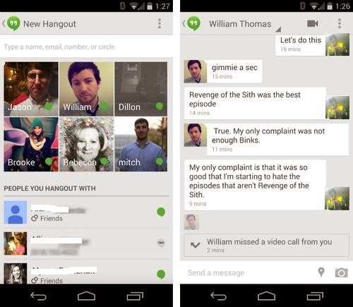 Google Android Video Call Google+ Hangout with Circles