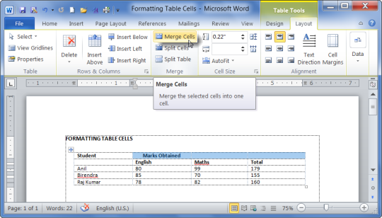 Table Tools Layout tab in MS Word 2010