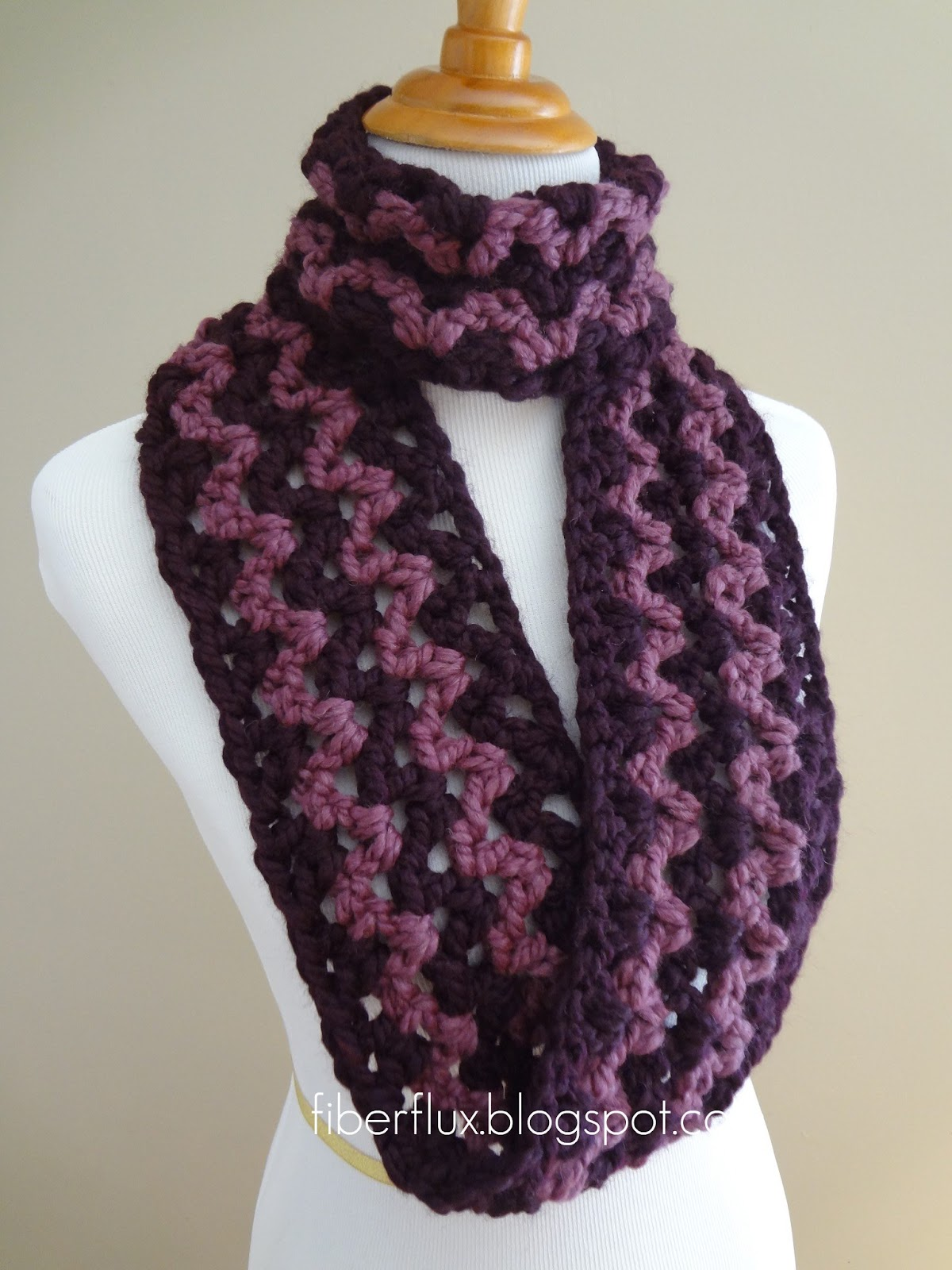 Free Patterns To And Crochet Infinity Scarf : Fiber Flux: Free Crochet Pattern...Pinot Noir Infinity Scarf