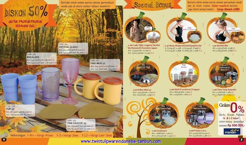 Promo Tulipware Diskon 50% & Special Bonus Bulan September - Oktober 2014