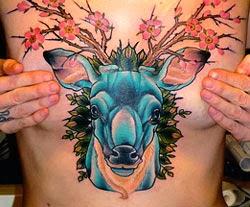 Fotos tatuagens femininas cervo flores
