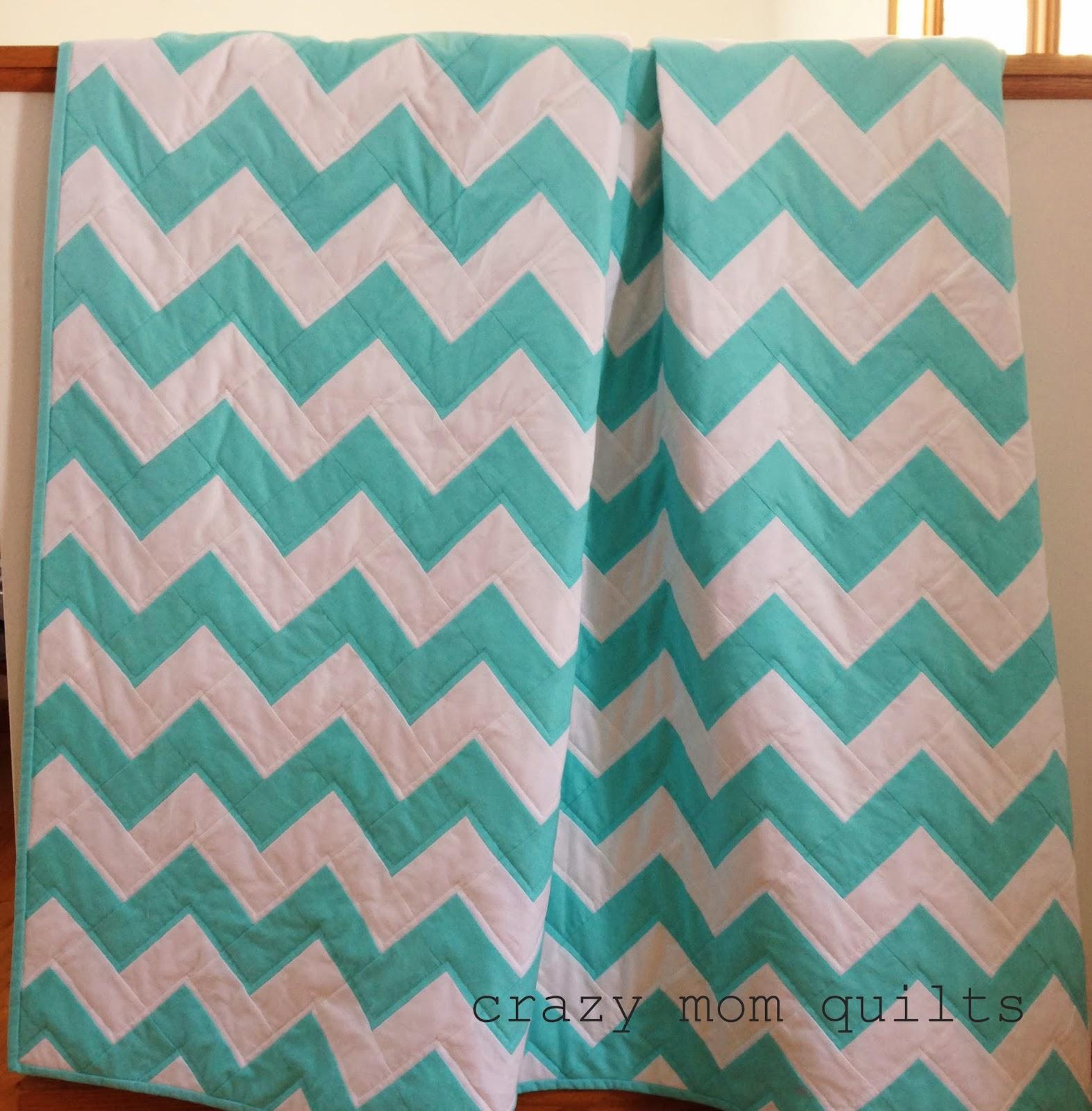 crazy mom quilts: aqua zig zag quilt