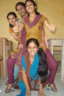 Telugu college girls playing with long hair.