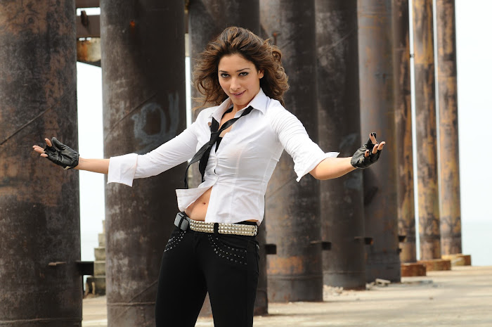 Tamanna Bhatia Hot And Sexy HD Images Showing Navel And Cute Thighs With Tight White Dress And Black Bra Black Fan Unseen Latest Images