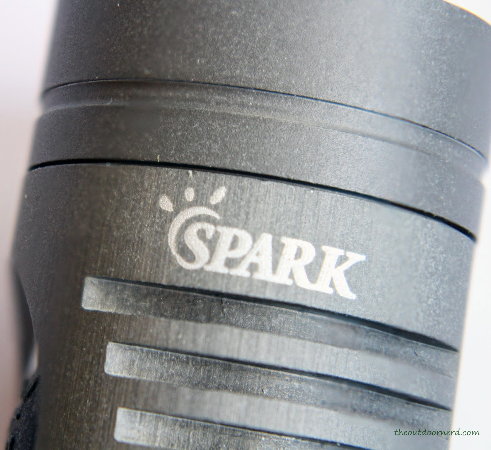 Spark SF3 1xCR123A Flashlight - Closeup Of Spark Logo