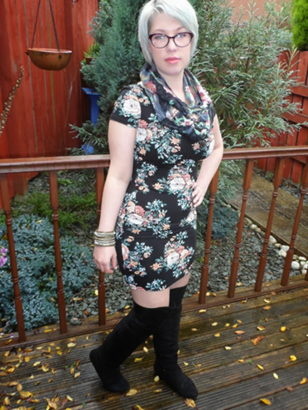 Over Knee Boots and Floral Bodycon Dress
