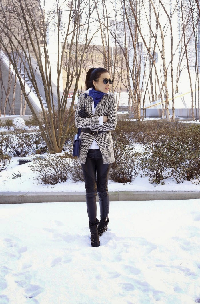 Sheinside oversized coat, karen walker harvest sunglasses, kendra scott my avant garden earrings, alexander mcqueen skull scarf, blank denim moto pants, ash boots, celine paris, celine classic box bag, fashion blog, snowday outfit, sale, how to winter layering