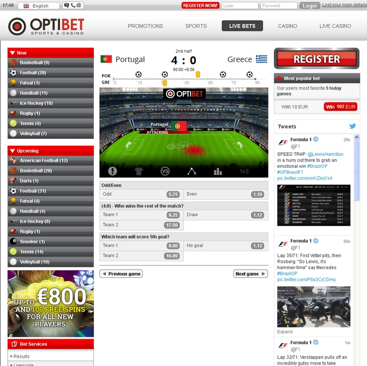 Optibet Live Betting Offers