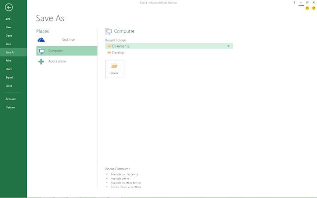 Excel 2013 Backstage - alles neu geblieben