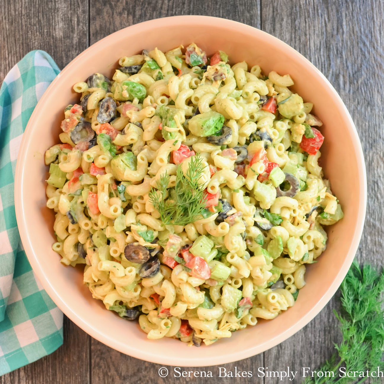 Creamy Avocado Bacon Pasta Salad with Dill Dressing. So good and easy to make.