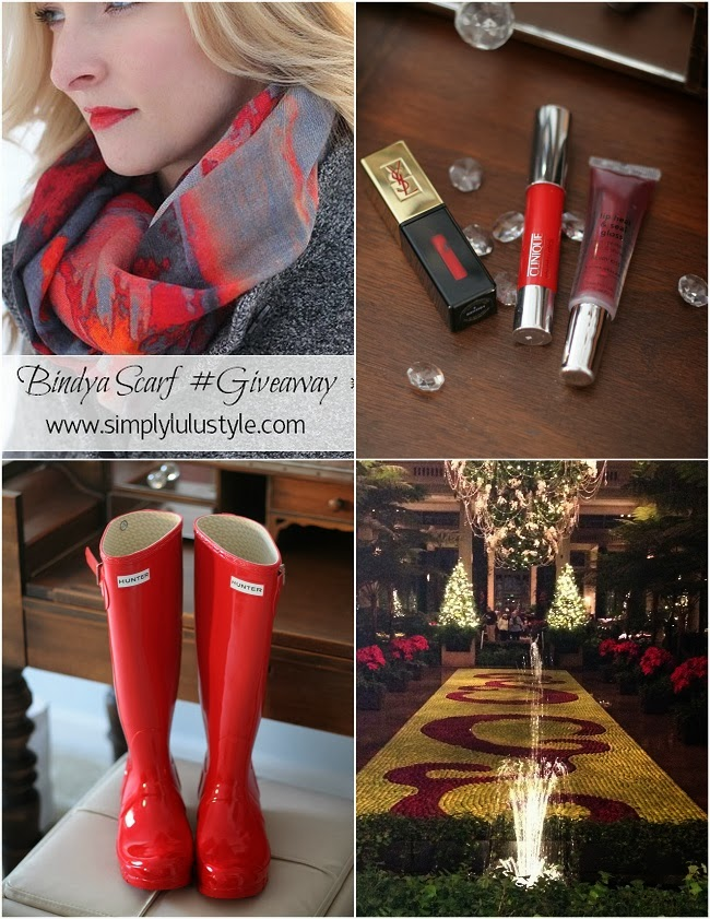 bindya scarf giveaway, club monaco, feather clutch, hunter boots, JCrew, lulus love list, YSL lipstain, holiday outfit, black jeans