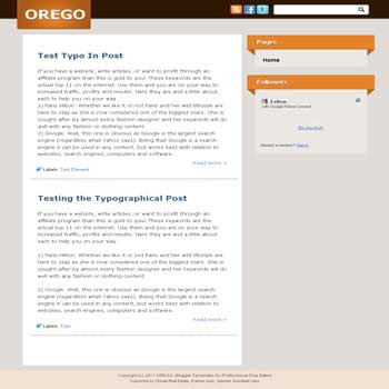 Orego blogger template. elegant blogger template for blog