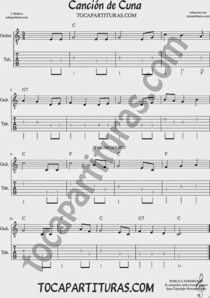Canción de Cuna Tablatura y Partituras del Punteo de Guitarra con acordes en Do Mayor Tabs sheet music for easy guitar Nana Lullaby by J. Brahms Tablature with C chords