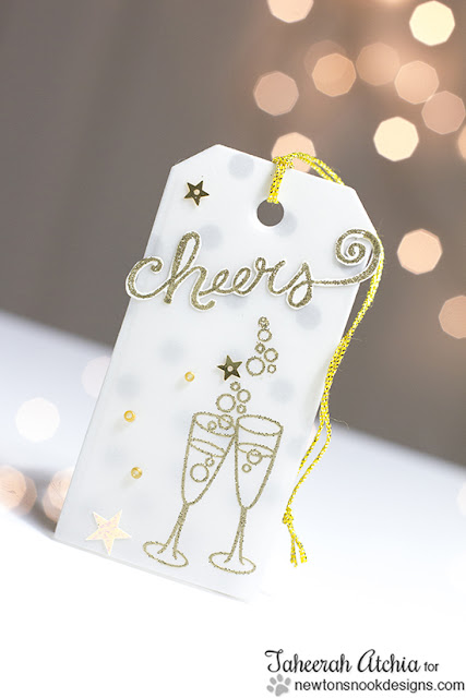 Cheers tag by Taheerah Atchia | Years of Cheers stamp set by Newton's Nook Designs