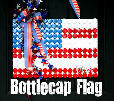 recycling ideas for kids: bottlecap flag for flag day