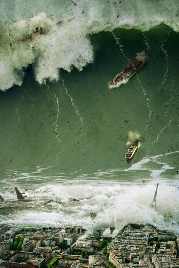 Tsunami gigante invadindo Paris/França em 2036, arte digital