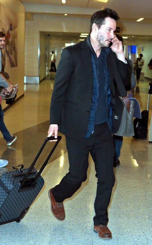 Rumor has it? No, Keanu Reeves is just a handsome man ever and he showed off again those statement on LAX.  The actor was spotted leaving his luxury jet and walking alone for the 2015 Sundace Film Festival at the airpot in Los Angeles on Friday, January 23, 2015.