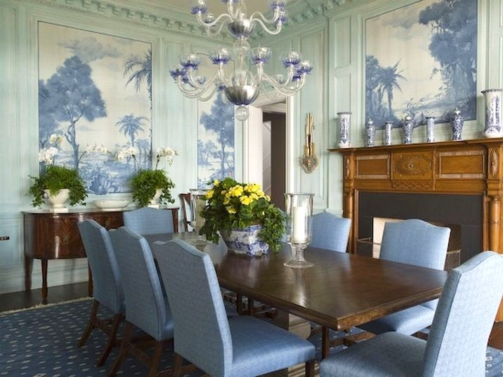 Eye for design decorating with blue for Formal dining room wall decor