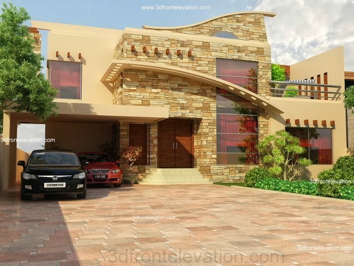 3d Front 1 Kanal House Design New 2014 Lahore