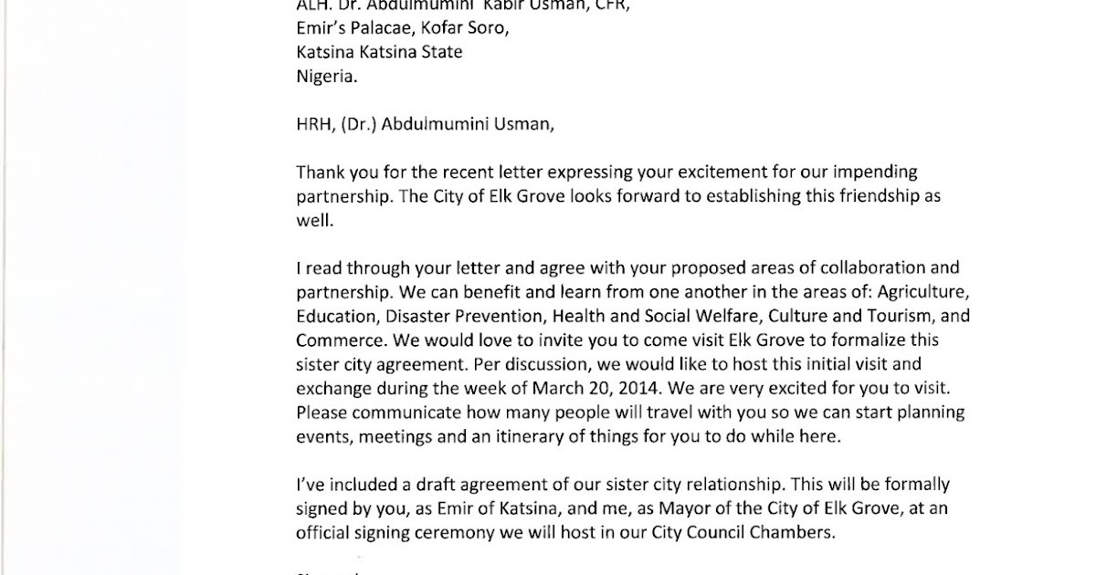 Emir of Katsina Formally Invited to Elk Grove by Mayor Elk Grove