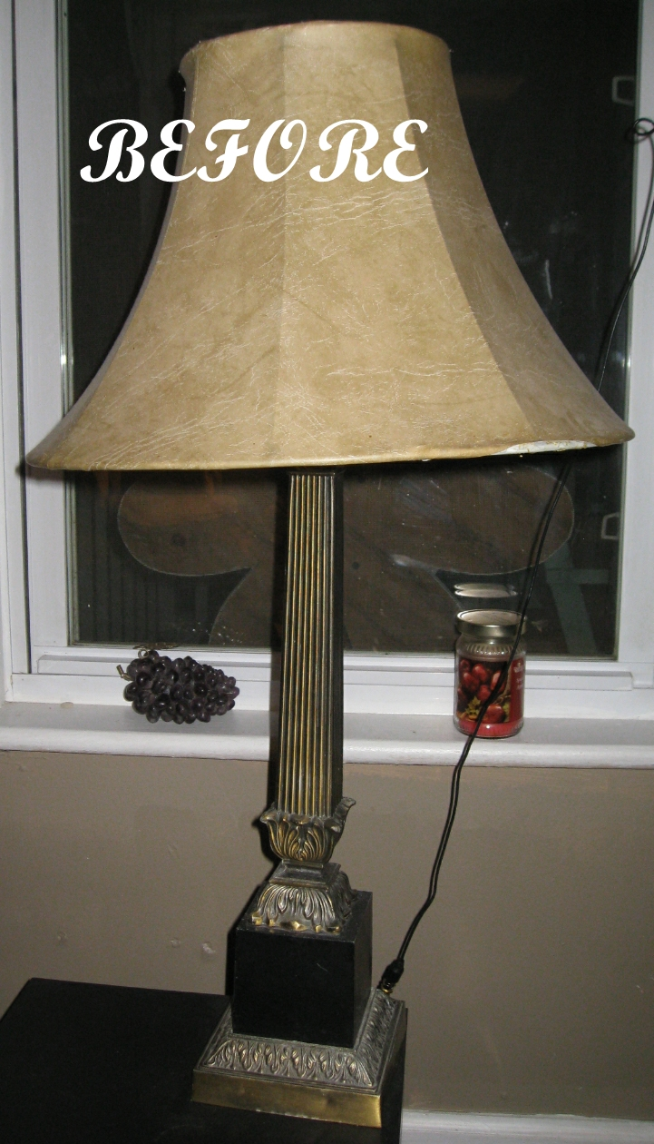 Kammy 39 s korner lamp redo with paint and fabric scraps for Redoing lamp shades
