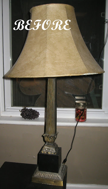 Kammy 39 s korner lamp redo with paint and fabric scraps for Redo lamp shades