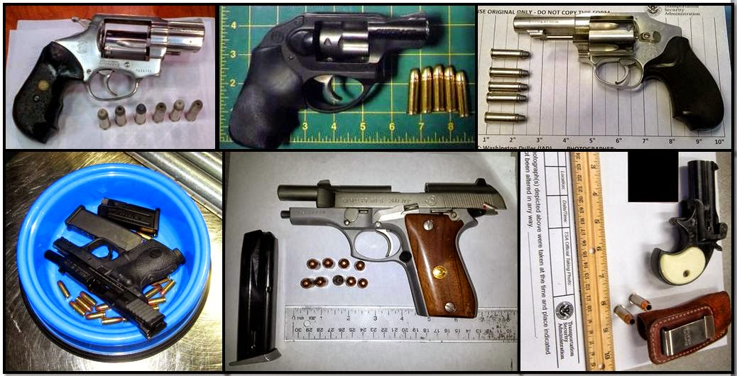 Firearms Discovered at (L-R / T-B) ATL, LAS, IAD, TVC, GSO & PIT