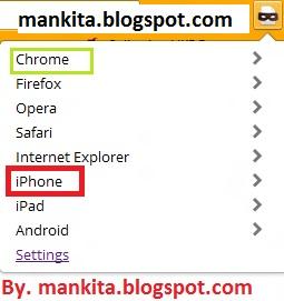 "Nah ada beberapa pilihan di sana, silahkan pilih/Klik saja ""IPhone"" ."