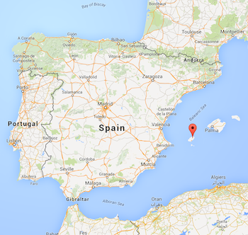 Map of Spain, from Google Maps, (c) Google.com
