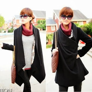 Fashion, Cape, Coat, Wool, Girl, Vixpo, Black, Korean, Ebay, Cheap, Black,